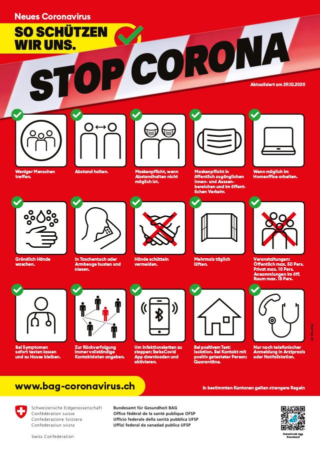 BAG Plakat Schutzmassnahmen CoVid-+9